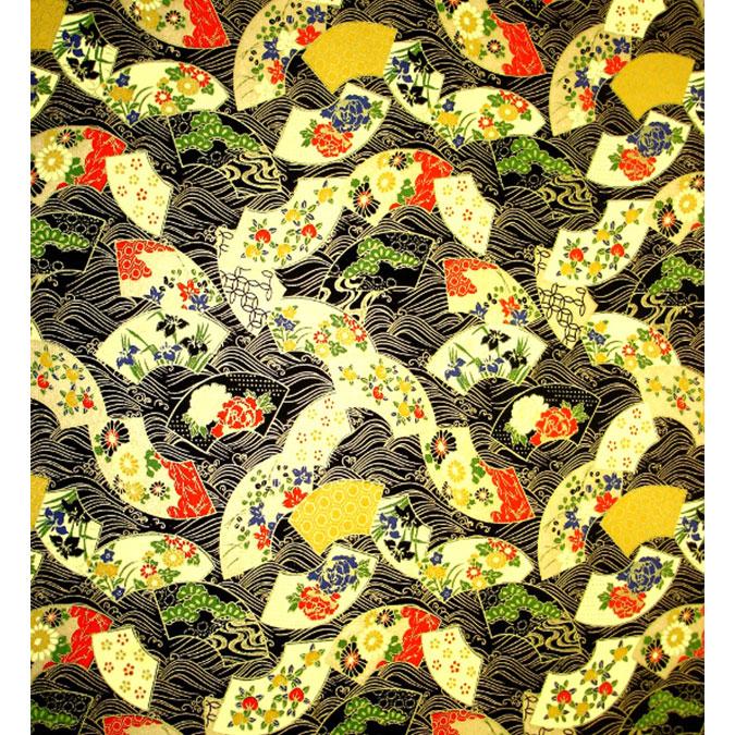 Papier Japonais 52 x 65,5 cm 100 g/m² Éventail doré fond noir