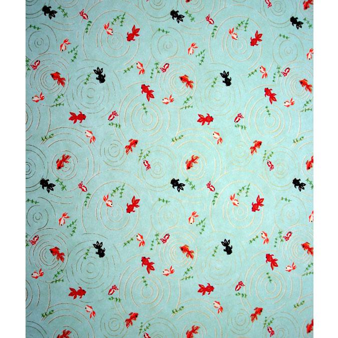 Papier Japonais 52 x 65,5 cm 100 g/m² Poissons rouge fond bleu