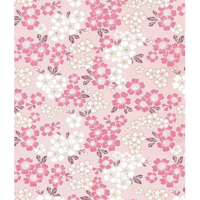 Papier Japonais 52 x 65,5 cm 100 g/m² Fleurs sur fond Rose