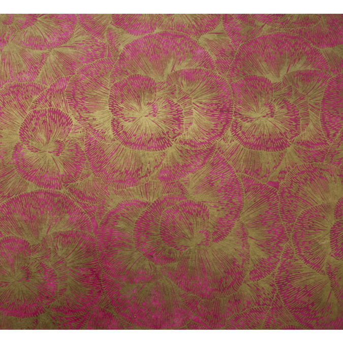Papier Lokta 50 x 70 cm 150 g/m² Fleurs dorées sur Fushia