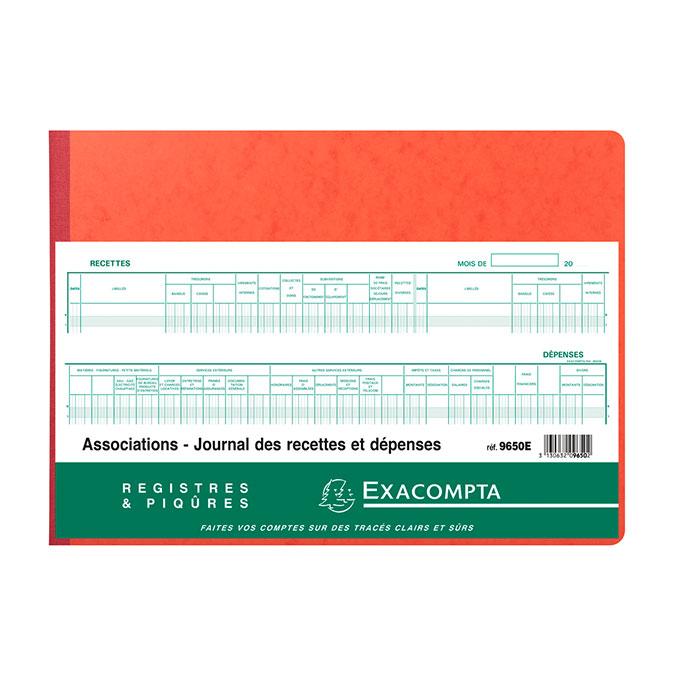Piqûre 27 x 38 cm Journal des recettes dépenses Associations 80 p