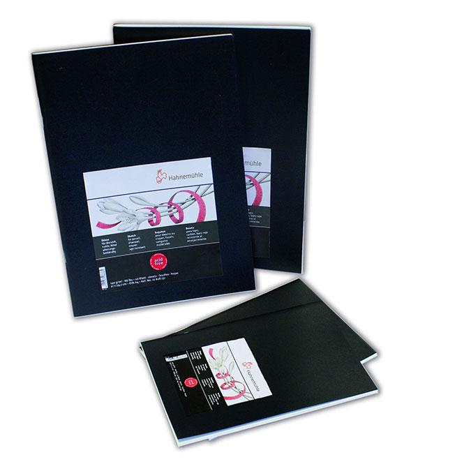 Carnet à dessin souple couverture noire 140 g/m²