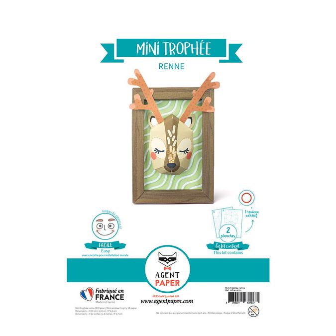 Trophée renne et cadre en papier à monter 30 x 20 x 4.5 cm
