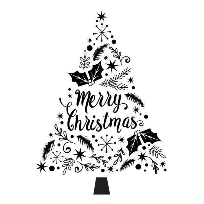 Tampon Merry Christmas sapin