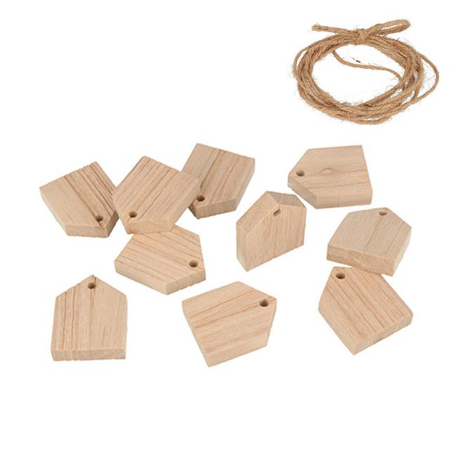 Guirlande en bois 10 maisons 4 x 5 x 1 cm