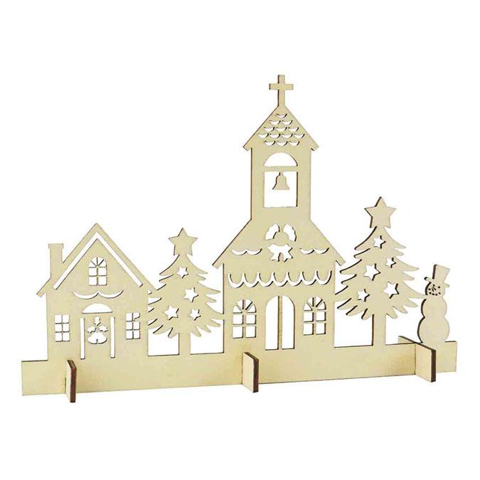 Décoration de noël Scène en bois 20 x 15 cm