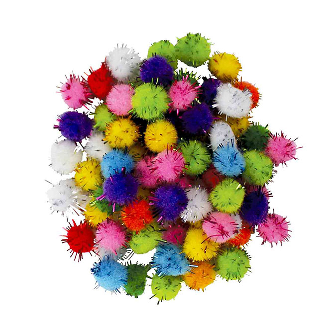 Pompons effet brillant Multicolores