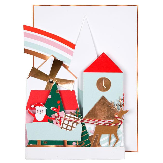 Carte de vœux Village de noël festif 12,7 x 17,8 cm
