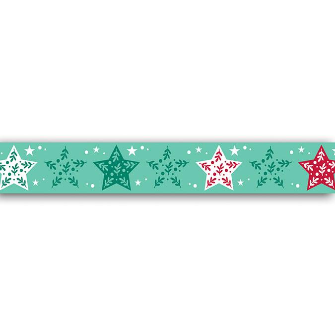 Masking tape Étoiles vertes et rouges 10 m