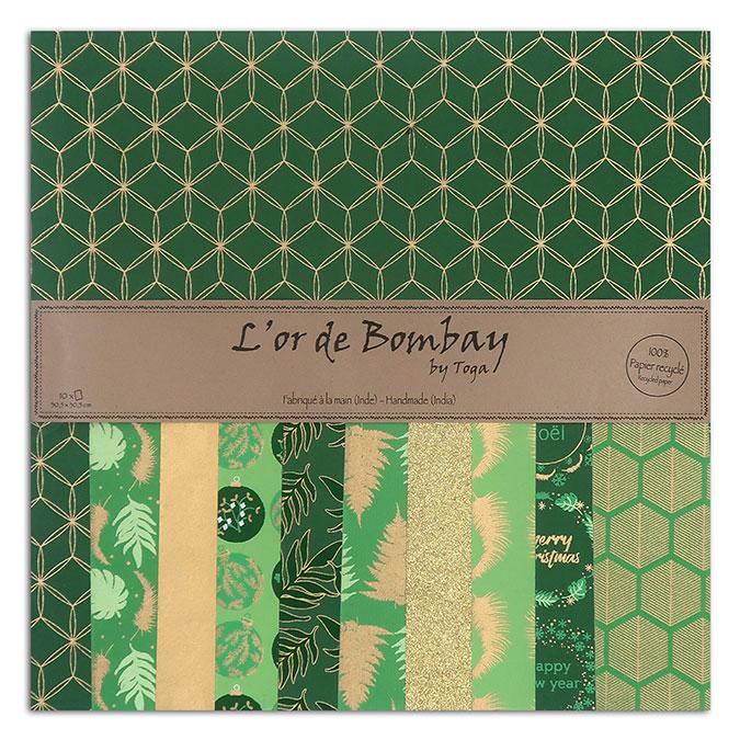 Papier scrapbooking L'or de Bombay 30 x 30 cm - 10 feuilles