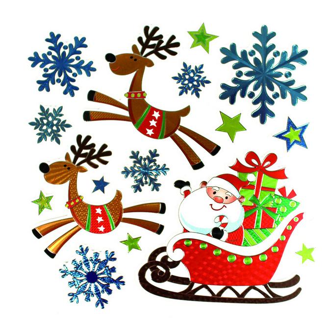 Stickers métal Noël 16 pcs