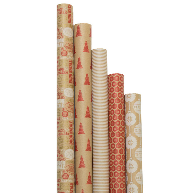 Papier cadeau Kraft brut cosy in red 2 x 0,70 m