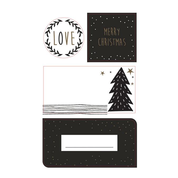 Etiquettes adhésives Noël noir et blanc 16 pcs