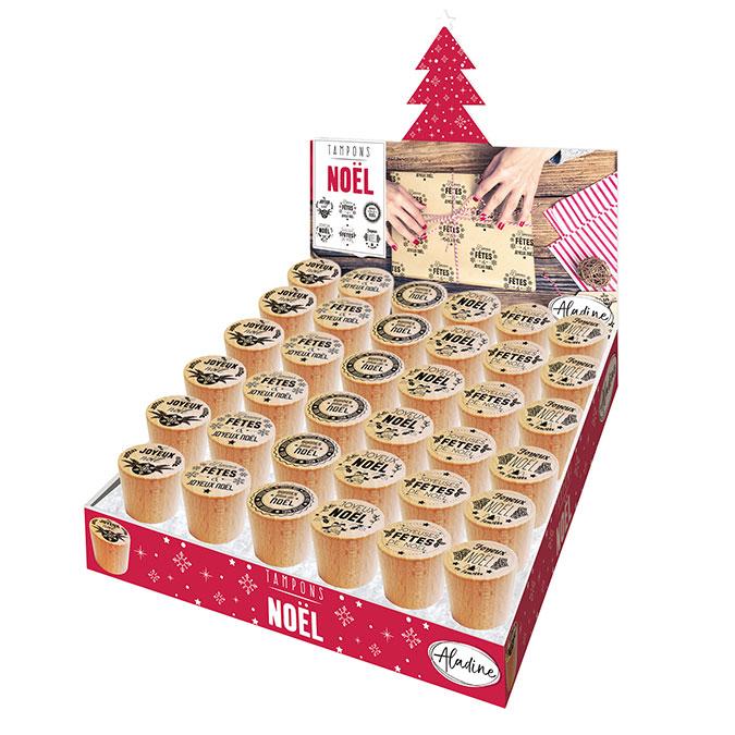Tampon bois message de Noël en français