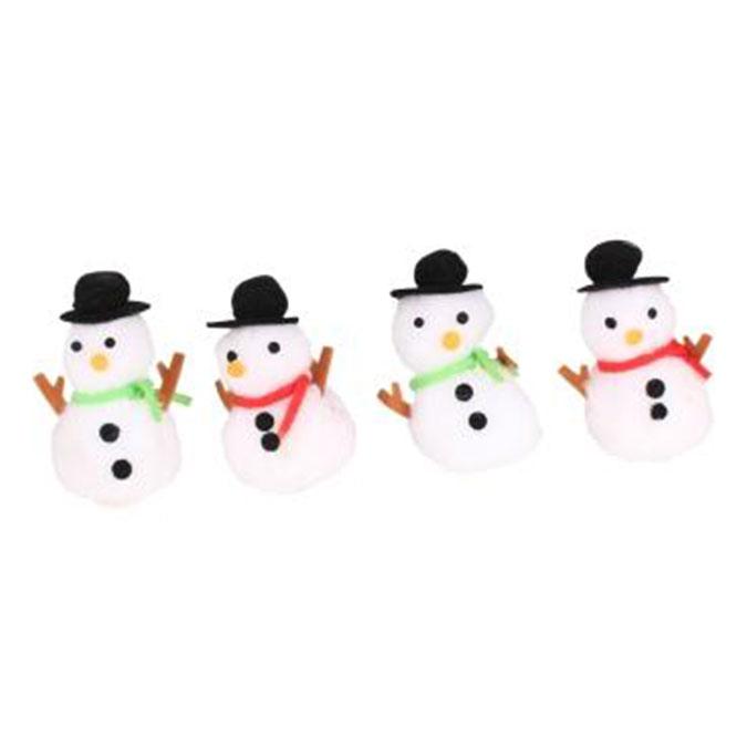 Bonhommes de neige pompons et feutrine 7 x 3 cm x 4 pcs