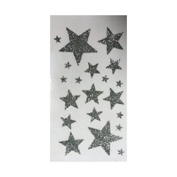 Autocollant étoile Argent pailleté 1 à 5 cm 20 pcs