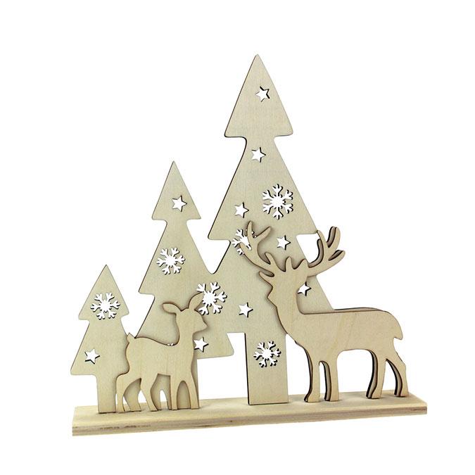 Scène de Noël en bois 26 x 25 x 4,5 cm