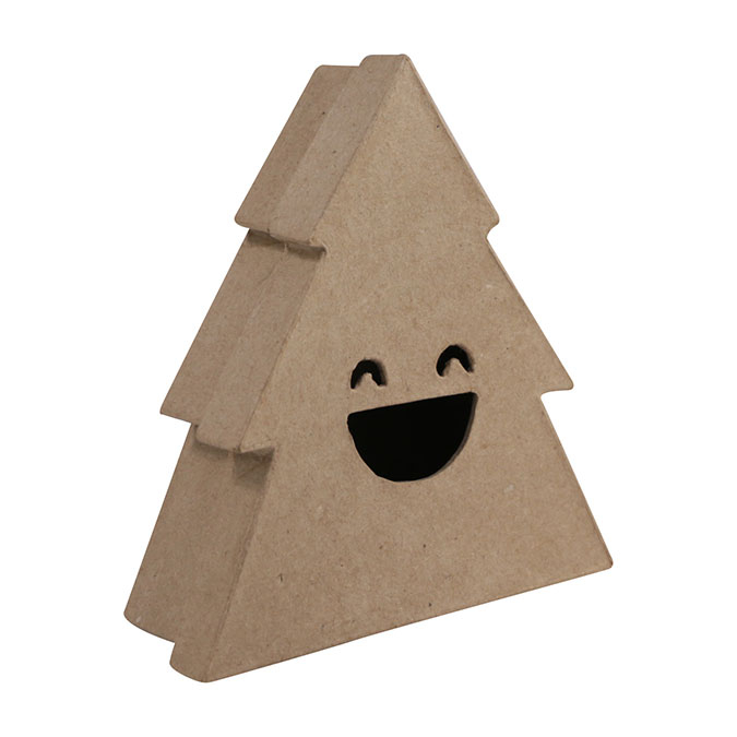 Boîte en papier mâché Sapin sourire 4 x 14,5 x 13,5 cm