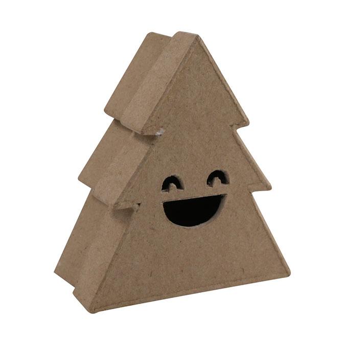 Boîte en papier mâché Sapin sourire 4 x 10 x 9 cm