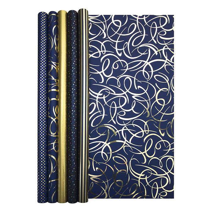 Papier cadeau Nuit bleutée rouleau 2 x 0,7 m