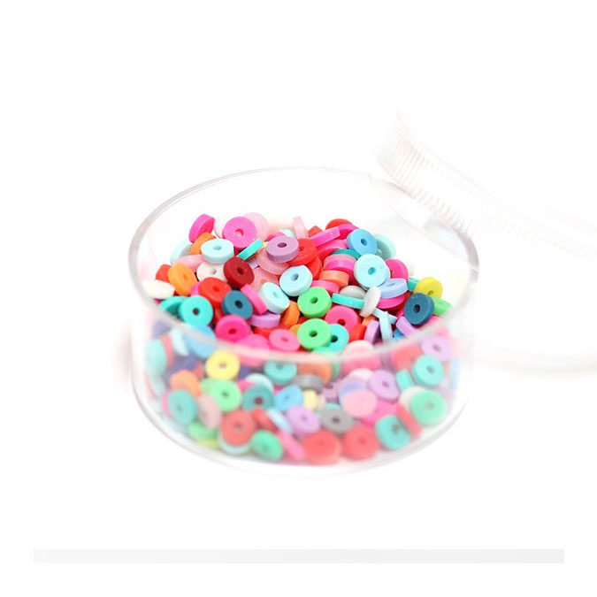 Perle rondelle Heishi 3 mm Mix couleurs Pop