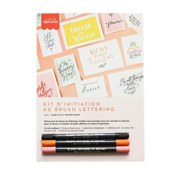 Kit d'initiation au Brush lettering Rose Orange Noir