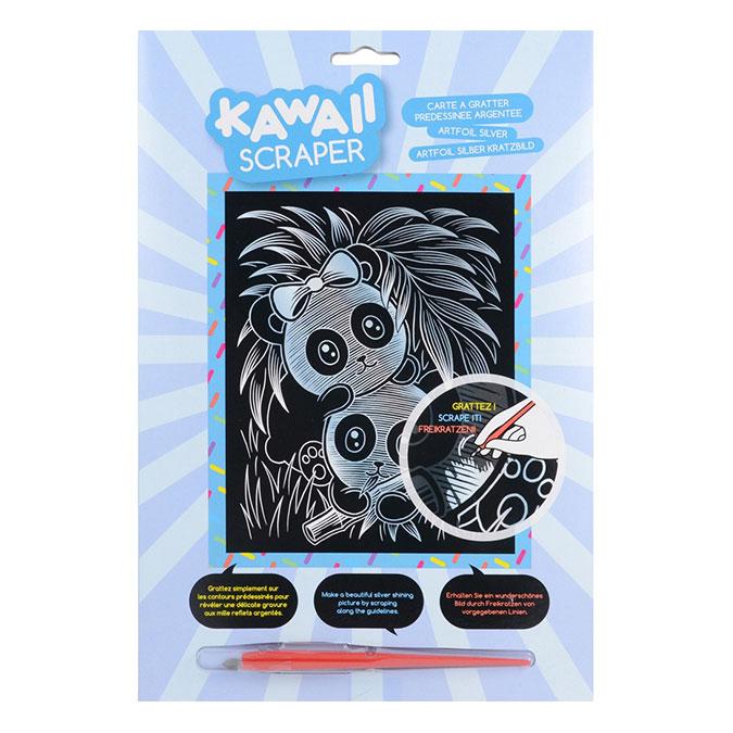 Carte à gratter Scraper argent Kawaii Pandas joueurs