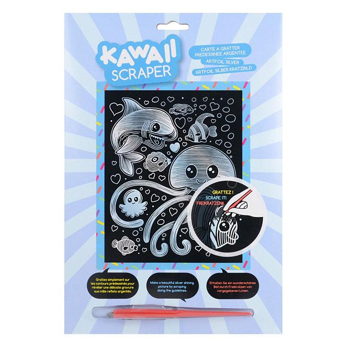 Carte à gratter Scraper argent Kawaii Sous l'océan