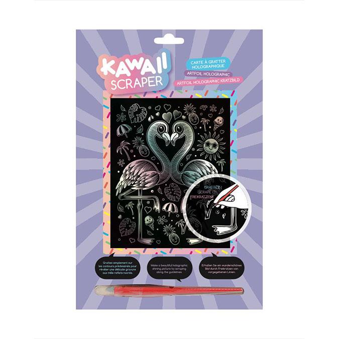 Carte à gratter Scraper holographique Kawaii Flamants tropicaux