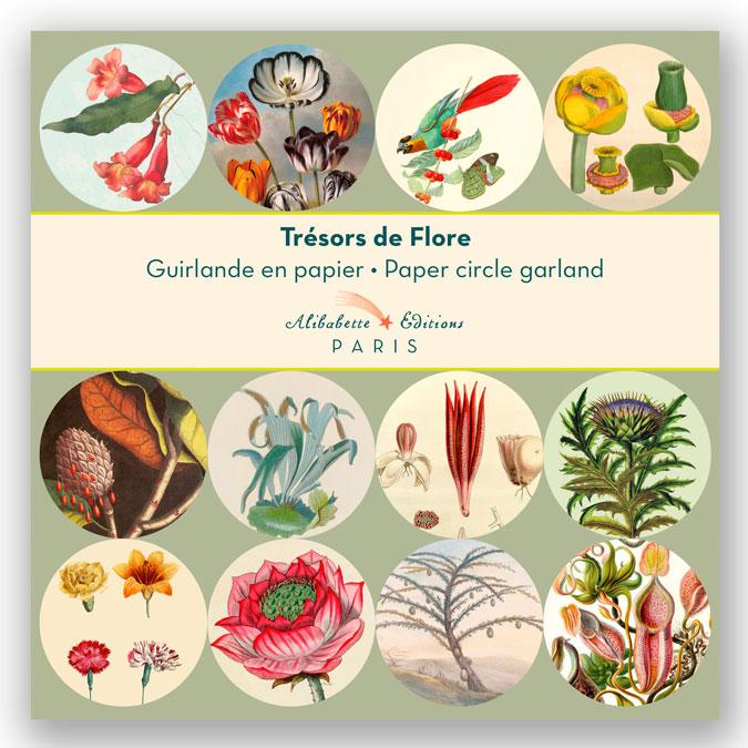 Guirlande 12 cercles illustrés Ø 11 cm x 3 m Trésors de Flore