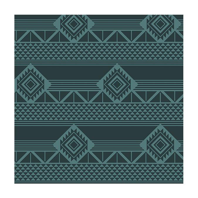 Coupon de tissu Wax imprimé Azteque lagon - 150 x 160 cm