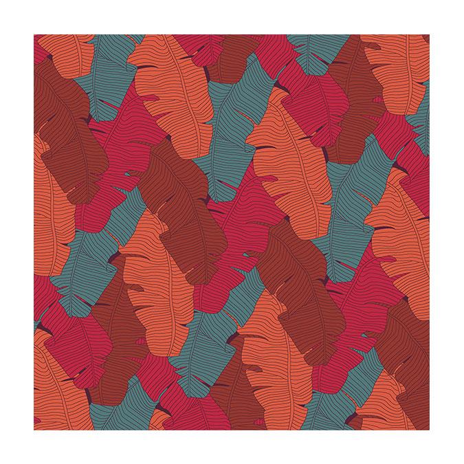 Coupon de tissu Wax imprimé Bananier paprika - 150 x 160 cm