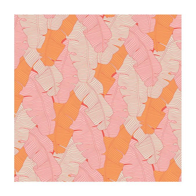 Coupon de tissu Wax imprimé Bananier pêche - 150 x 160 cm