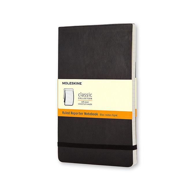 Carnet de notes Reporter 9 x 14 cm ligné souple Noir