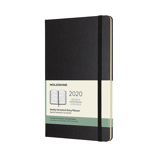 Agenda 2020 Horizontal Semainier 13 x 21 cm Noir