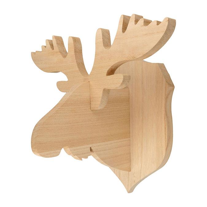 Trophée Caribou en bois 31 x 20 x 21 cm