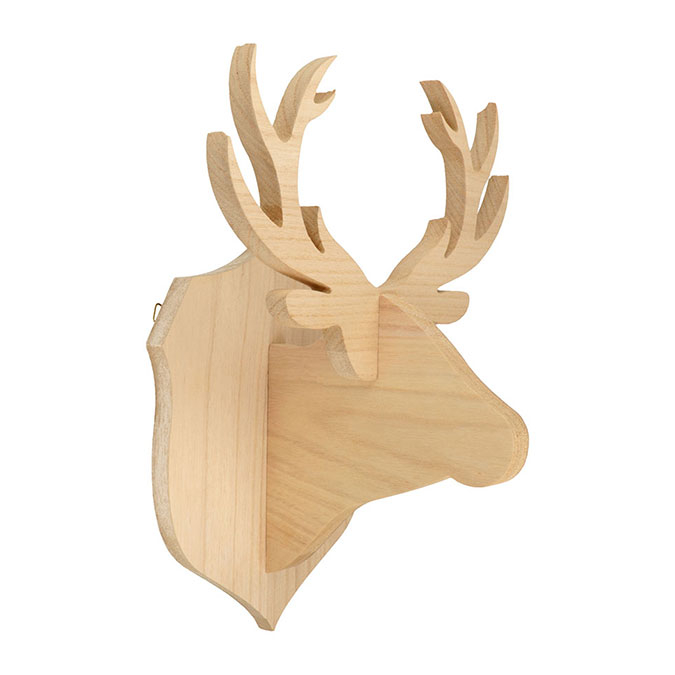 Trophée Cerf en bois 23,5 x 35 x 20 cm