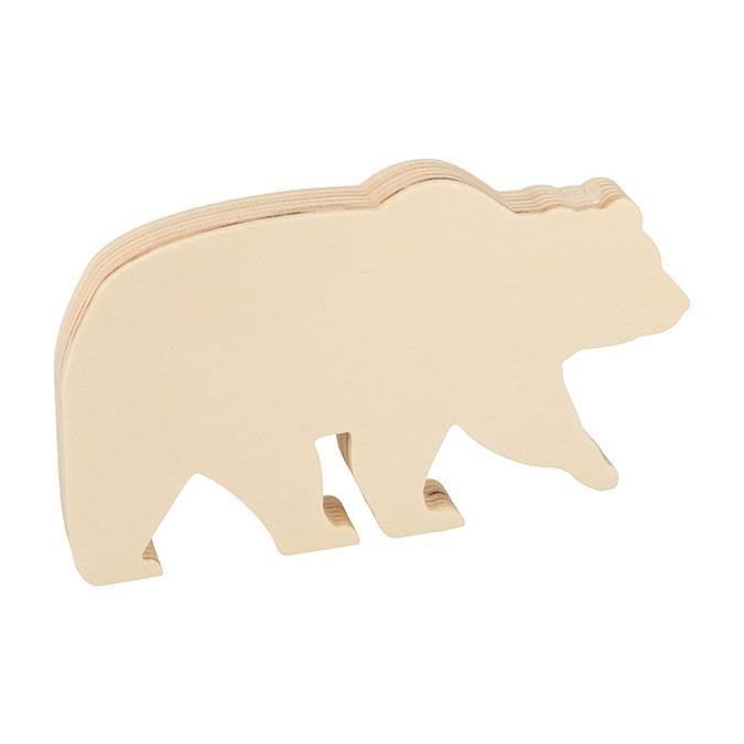 Ours en bois à poser 16,5 x 10 x 1,8 cm