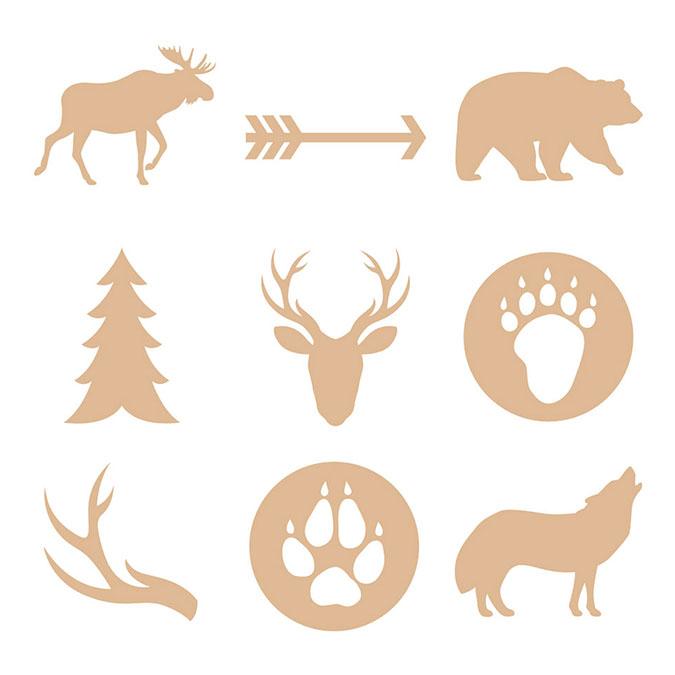 Silhouette en bois Woodland animaux 27 pcs