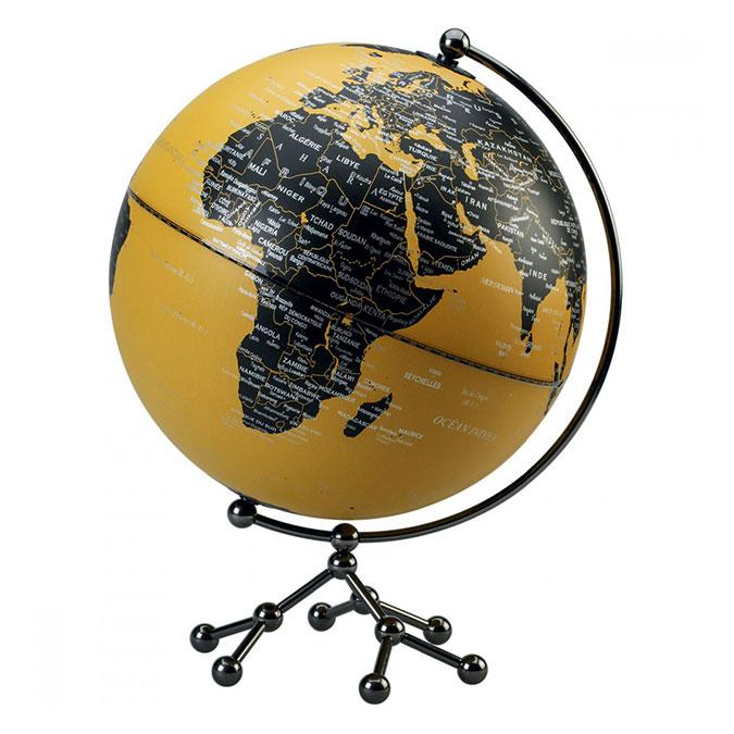 Globe terrestre Politique Ø 25 cm Socle atome Jaune