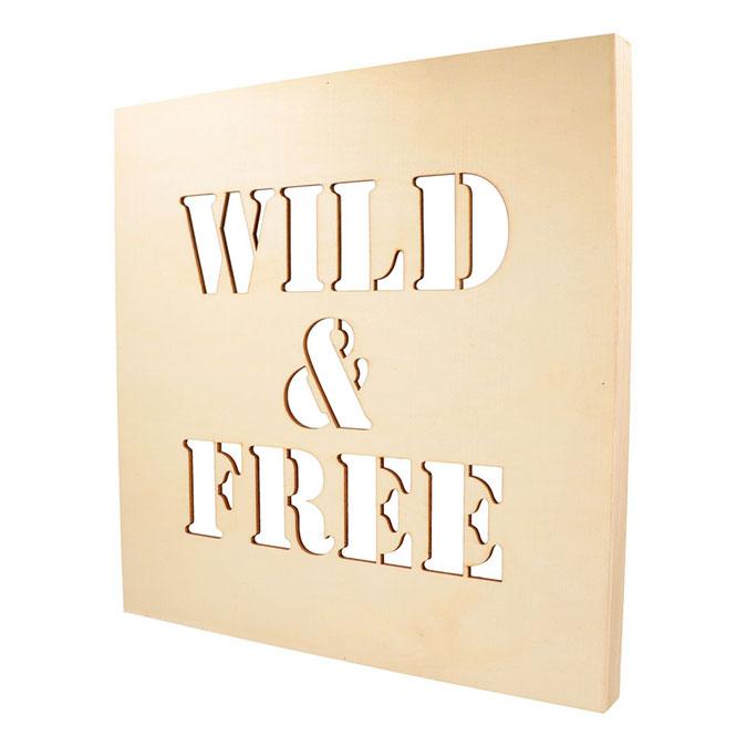 Châssis en bois ajouré Wild & Free 30 x 30 cm