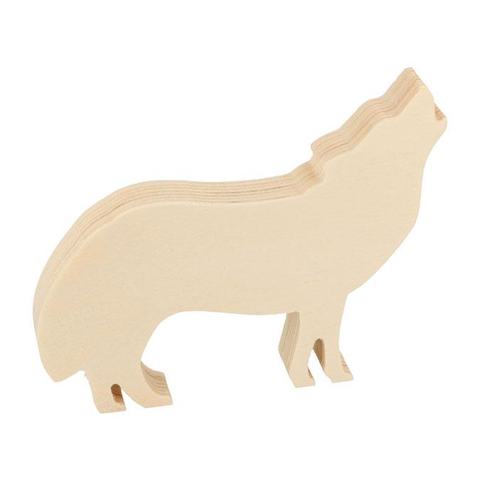 Loup en bois à poser 13,5 x 10,5 x 1,8 cm