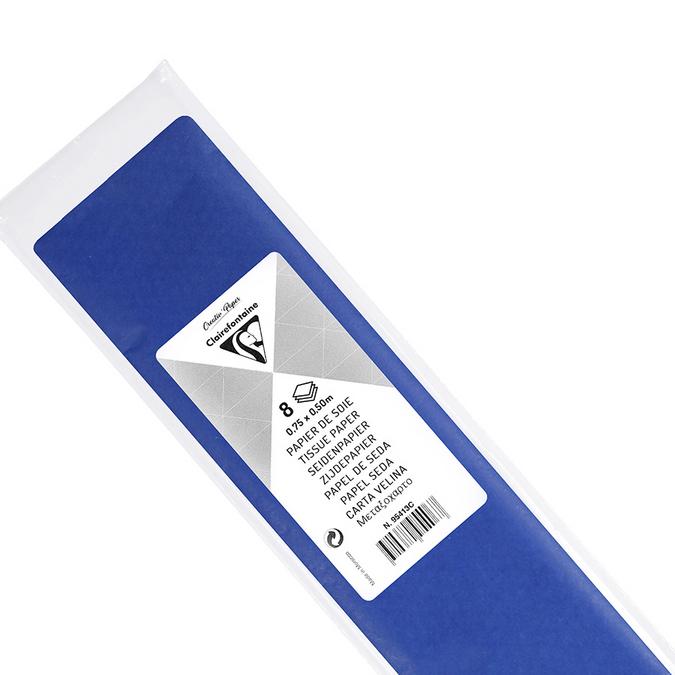 Papier de soie 8 feuilles 50 x 75cm bleu France