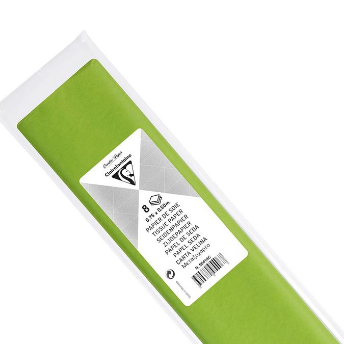 Papier de soie 8 feuilles 50 x 75cm vert pomme