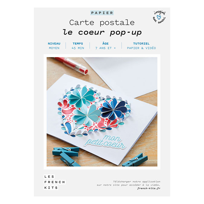 Kit papier Carte postale le cœur pop-up