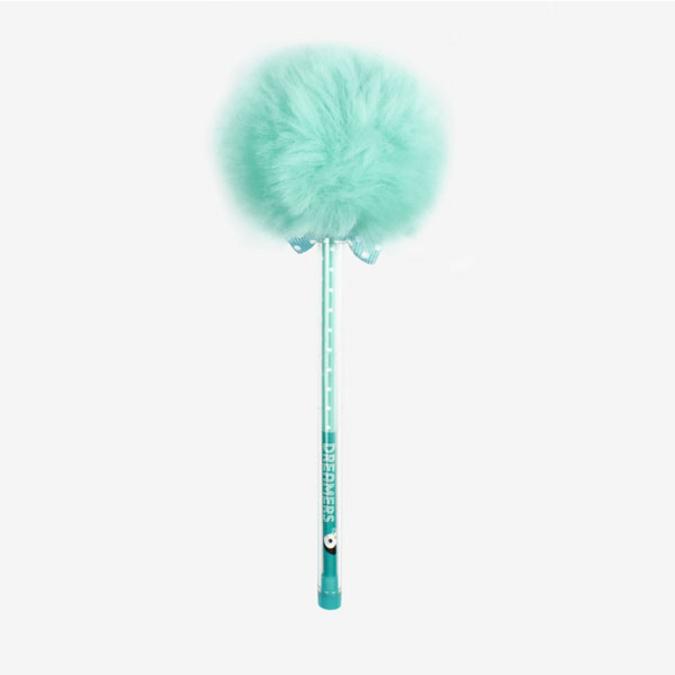 Stylo pompon bleu