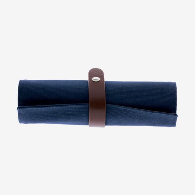 Trousse roll up en toile de coton bleu