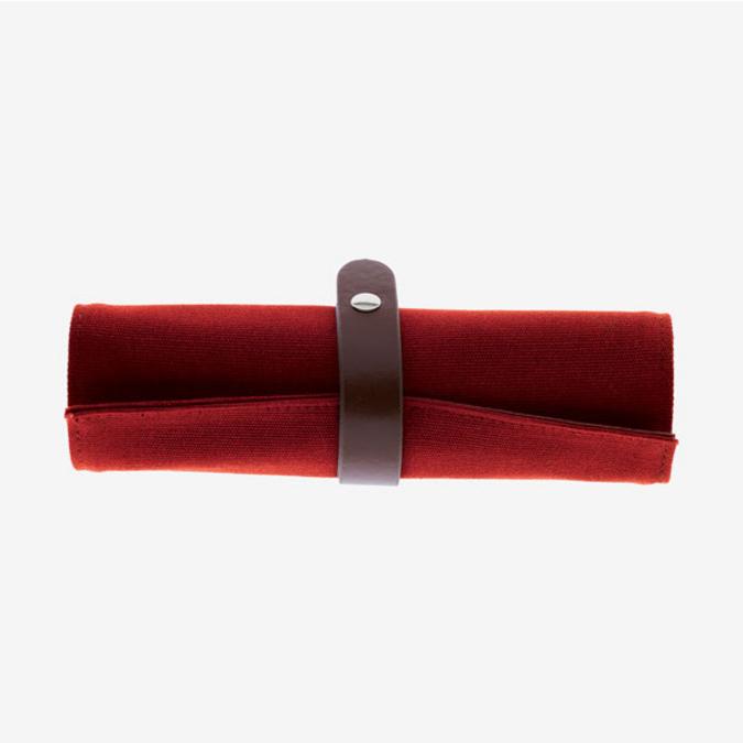 Trousse roll up en toile de coton rouge