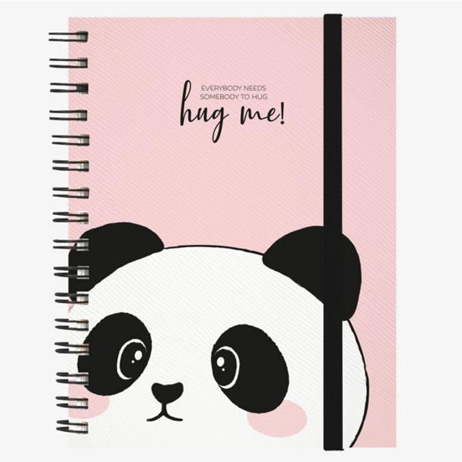 Cahier ligné à spirales panda