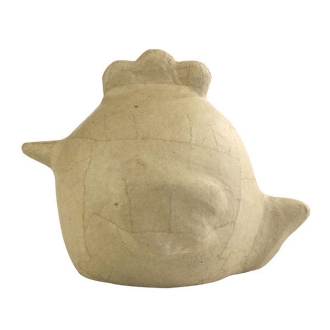 Poule ronde en papier mâché 14 x 19 cm